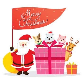 Clip art with Santa, animals and Christmas flag