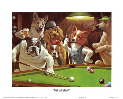 Dogs playing pool art print by Arthur Sarnoff