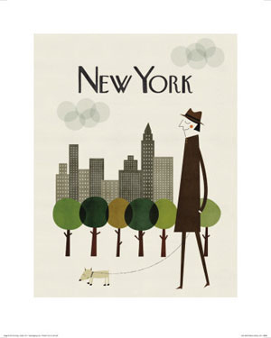 Dog poster, New York city skyline, trees and person walking their dog