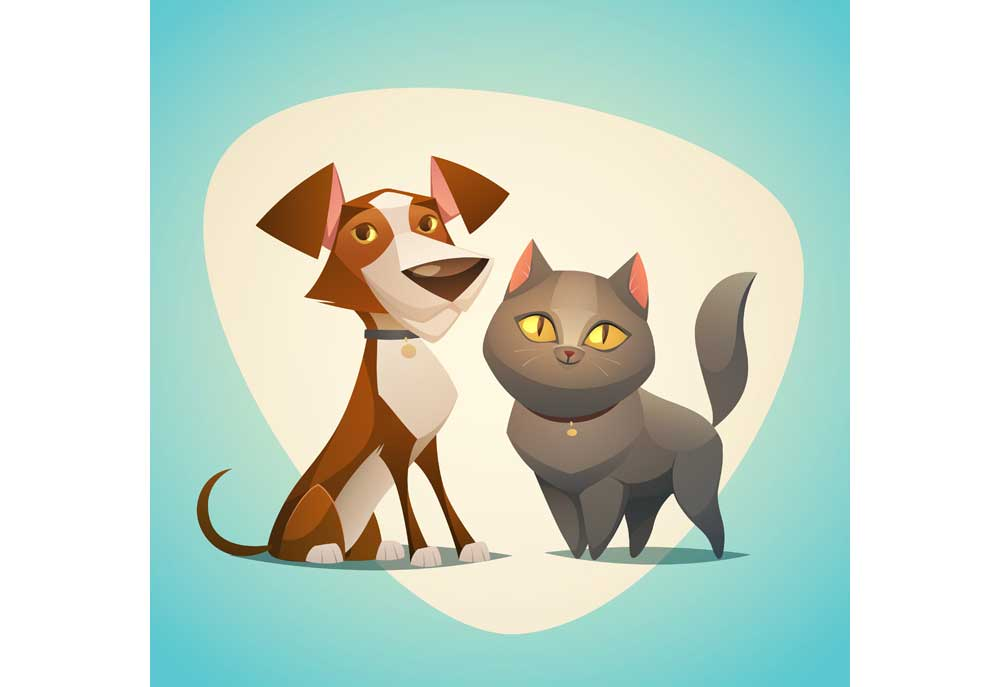 Clip art of brown and white dog sitting with gray cat