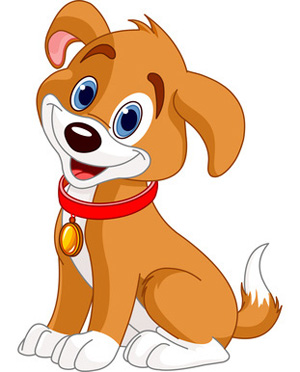 Brown White ClipArt Dog with Red Collar