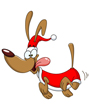 Clip art of happy cartoon dog wearing Santa hat and Christmas vest