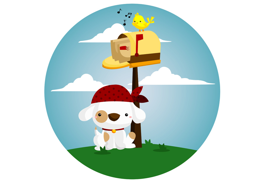 Cute dog clip art, dog waits by mailbox