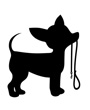 Silhouette of clipart chihuahua dog with leash in mouth