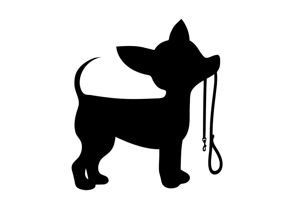Clipart of Chihuahua dog in silhouette with leash in its mouth