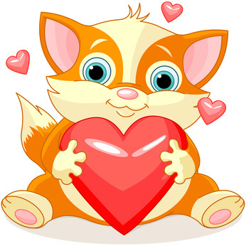 Clip Art Cat with Valentines Day Hearts, Love