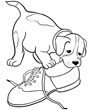 Clipart of puppy dog chewing shoe