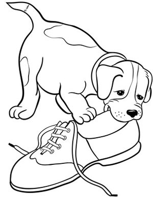 Line drawing clipart of puppy dog chewing shoe
