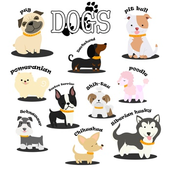 Ten Dog Breeds Clip Art