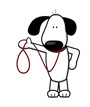 White and Black Image Dog Holding Leash