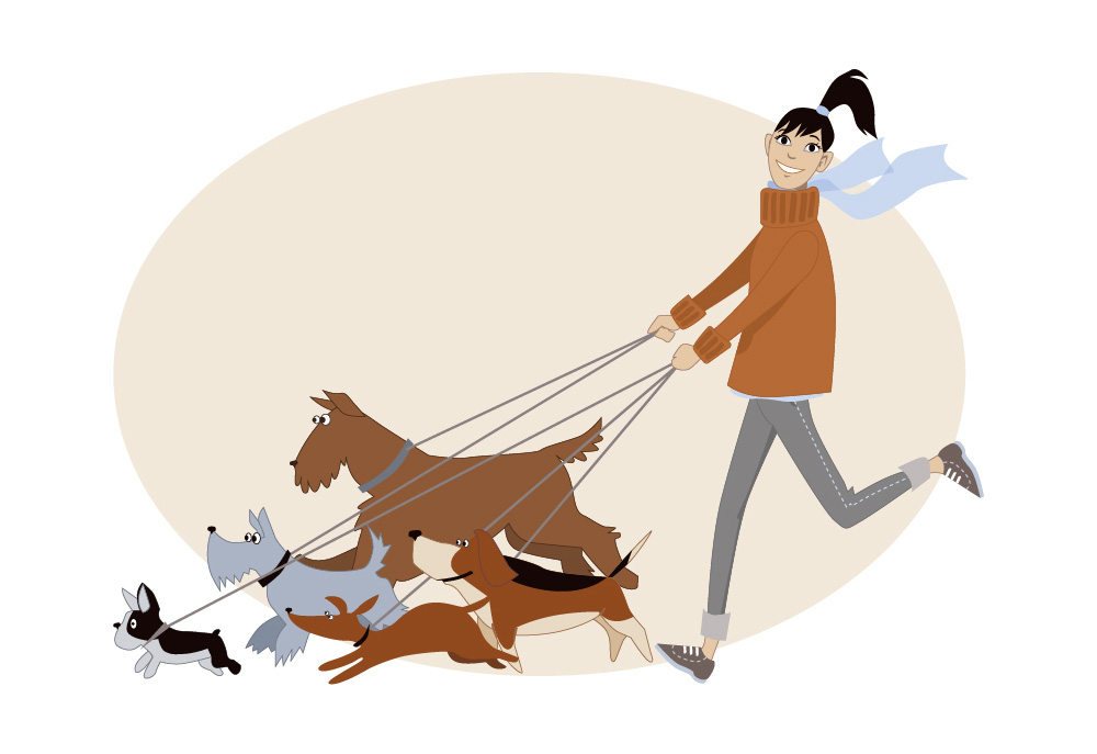 Clip Art of Dog Walker with Five Dogs