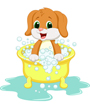 Clipart of cute puppy dog in bath