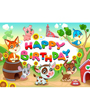 Kids happy birthday clip art with dogs and animals