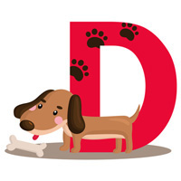 Dog clip art, D is for dog