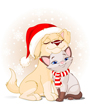 Dog and cat Christmas clip art