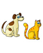 Dog and cat cartoon clipart