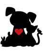 Dog, cat, bunny and bird silhouette, valentine