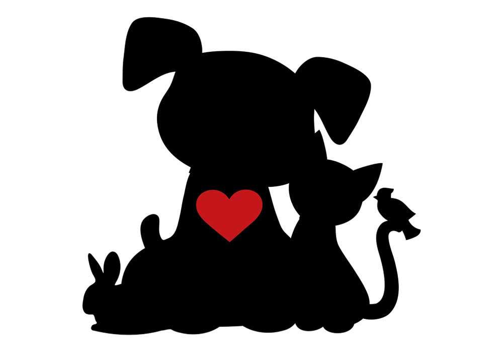 Clip Art of Pet Silhouettes Heart - Dog Clip Art Pictures
