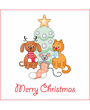 Christmas clip art, dog cat and mouse stand in front of Christmas tree