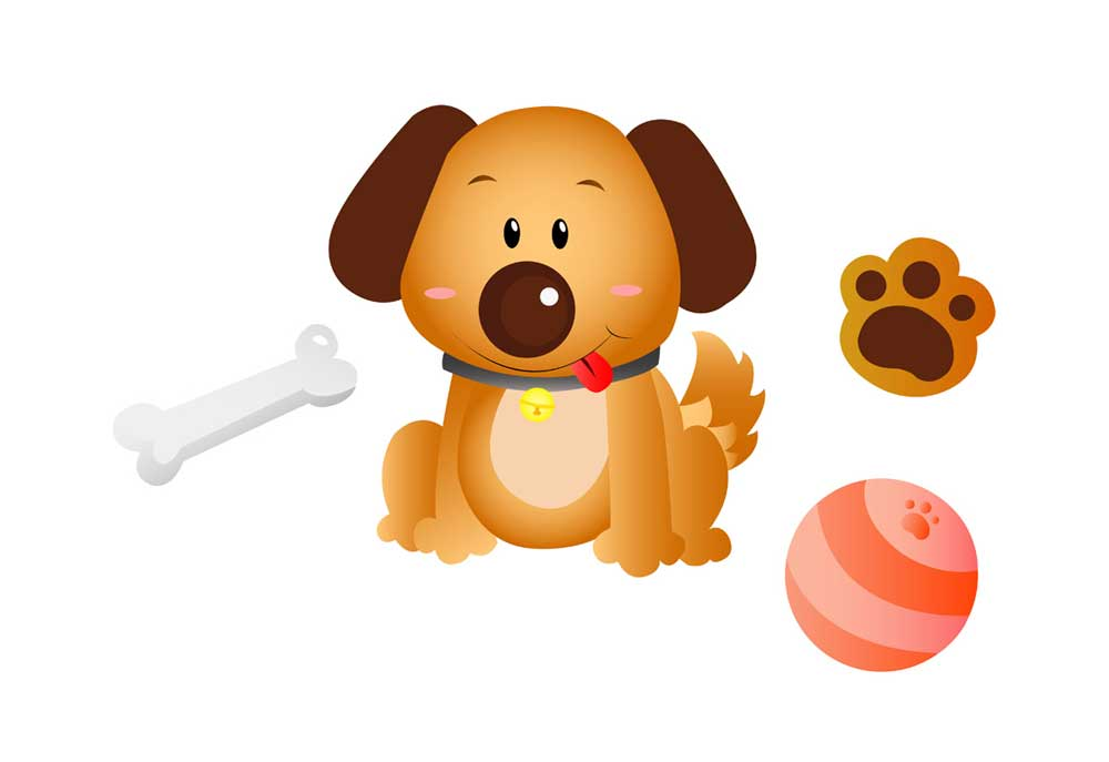 Dog clip art with dog bone, ball and dog paw print