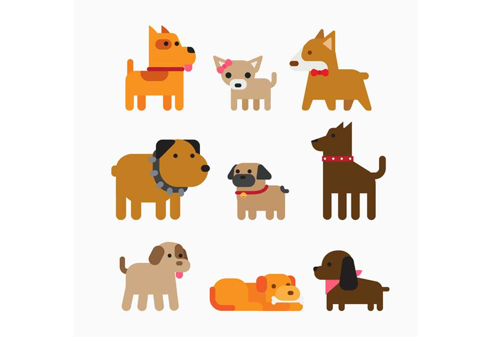 Dog clip art shows nine different dogs, nine different dog breeds