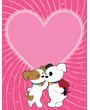 Dog clipart, two Valentine puppies