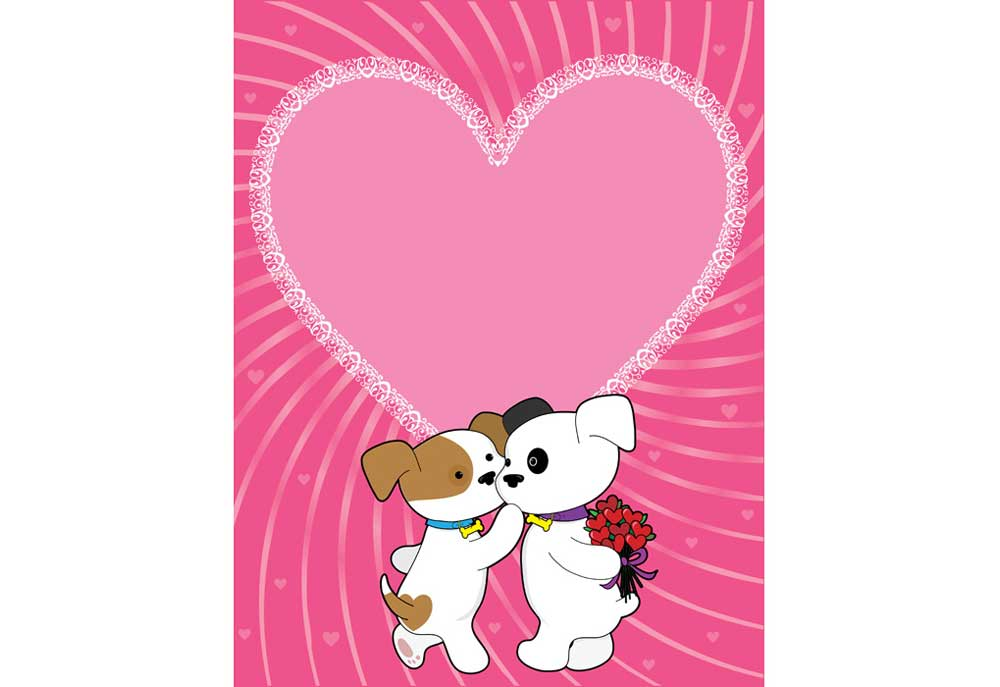 Two puppy dogs in love, Valentines Day clipart