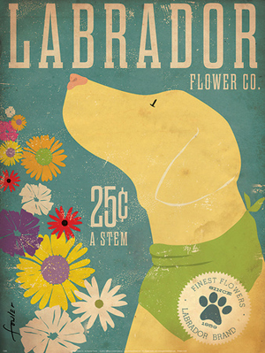 Dog poster, Labrador Flower Company - Advertising Poster Art
