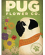 Pug Dog Flower Company Poster