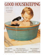 Puppy Dog Poster, Baby and Puppy in Tub Cover of Good Housekeeping Magazine