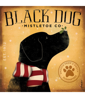 Dog Poster Art Black Dog Mistletoe, Stephen Fowler