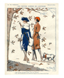 Dog poster two french women walk with dog in Autumn