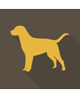 Clip art silhouette of retriever dog standing, posed