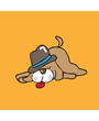 Clip art of sleeping dog wearing a hat