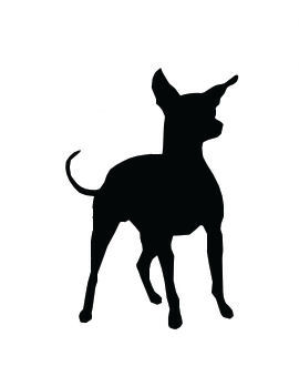 Dog Clip Art, Chihuahua Dog Standing with Ears, Tail Raised