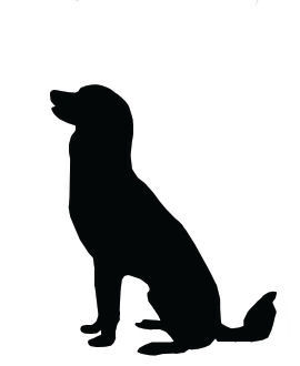 Dog sitting. Silhouette clip art large