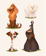 Four cartoon dogs, four different dog breeds