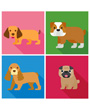 Four dog breeds block art