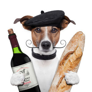 French Dog Wine Beret and Bread Poster