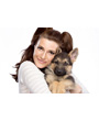 Picture of pretty girl hugging a German Shepherd puppy