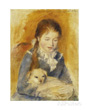 Renoir art print, young girl with dog in her arms