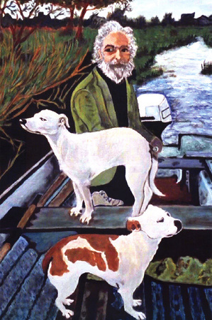 Two dogs and a grey haired man in motor boat, Goodfellas movie painting