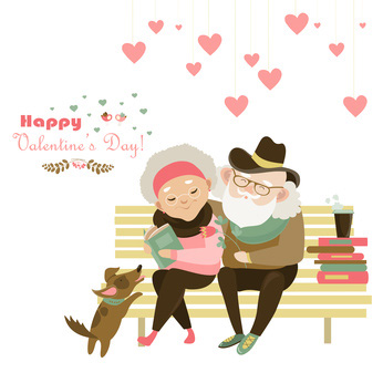 Happy Valentines Day, older couple with dog on bench, Love Dogs