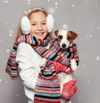 Jack Russell terrier and young girl in knitted scarf