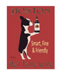 Dog art print, Boston terrier red table wine
