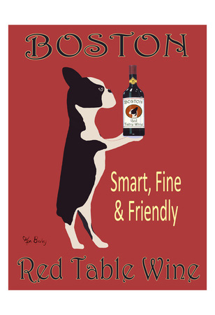 Boston terrier dog art print, red table wine by Ken Bailey