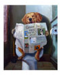 Dog reading the newspaper sitting on the toilet, dog art print