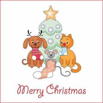 Clip art Christmas tree with dog, cat and mouse