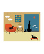 Donna Mibus art print, mid-century modern dogs and cats
