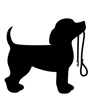 Silhouette of puppy holding leash